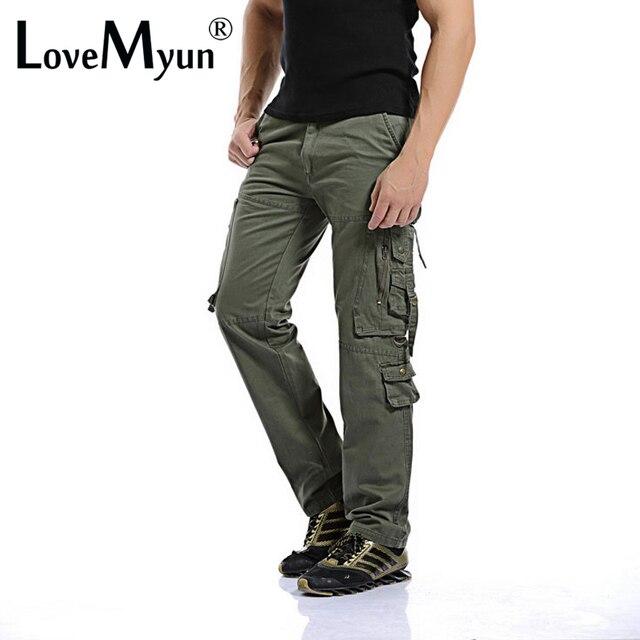 2016 Новый Мужчины Брюки-Карго army green большие карманы украшения мужские Повседневные брюки легко мыть мужской осенью армия Тактические брюки плюс