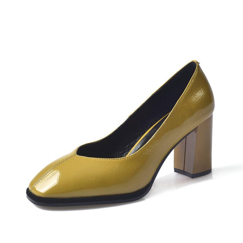 En Taille jaune Sur Bout Élégant Bureau Chaussures Pointu Femme Pompes Tasslynn Dames Slip 3439 Femmes Carré 2018 Cuir Verni Noir Nvm08nw