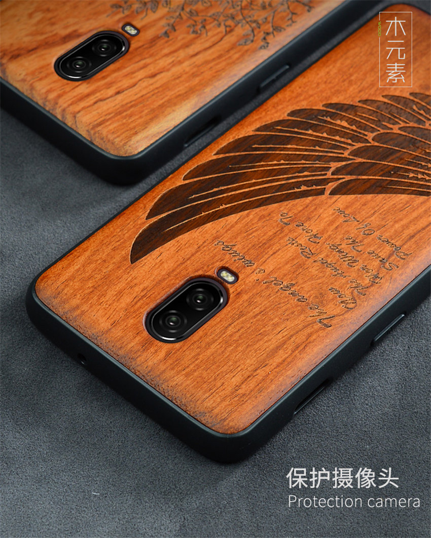 Oneplus 6t Case Boogic Original Real Wood funda Oneplus 6T Rosewood TPU Shockproof Back Cover Phone Shell One plus 6T case (9)