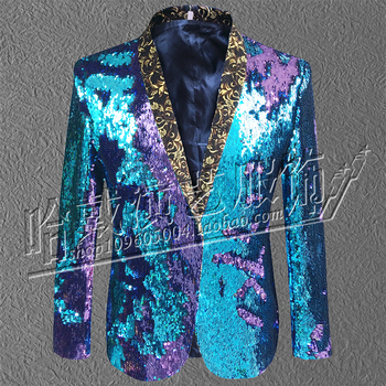 M-6XL !   2018   Big yards New men sequined suits Bar host club DJ stage singer piece of clothing   The singer's clothing