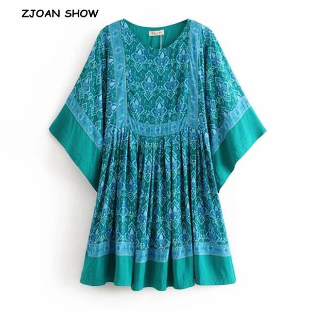 4d3706daeb47 Bohemian Location Paisley Floral Print Dress Green Ethnic Beach Bat Sleeve  High Waist Loose Mini Short Dresses Woman Vestido