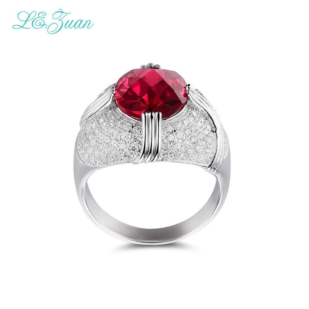 L&zuan 925 Sterling Silver Fine Jewelry Rings 6.37ct Red stone Prong Setting Ring For Women