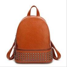 TMBOD Европа и американский стиль твердые мода дамы заклепки большая емкость студентка genunie кожаные рюкзаки. y48