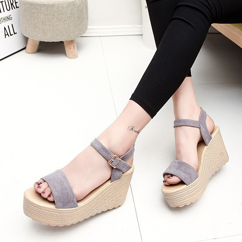 2016 new summer women wedges sandals Thick Soled Shoes Solid 4 colors open toe Women Ladies Sandals HSD06 (6)
