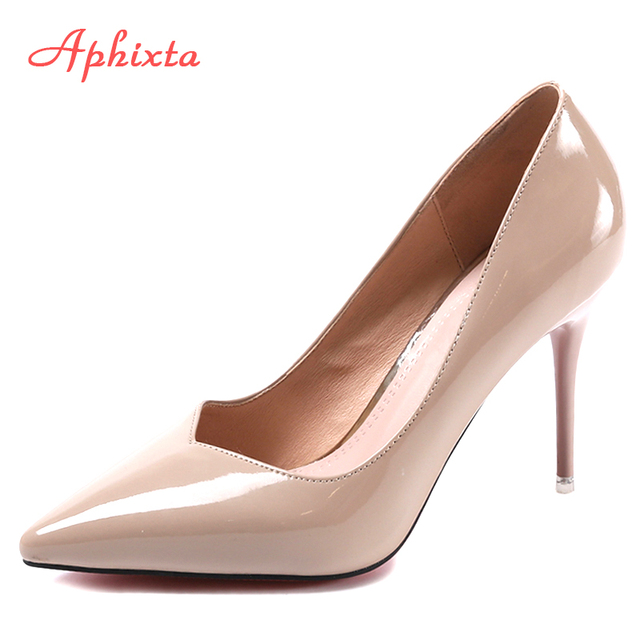 Aphixta 2017 Women Pump Dress Shoes Autumn Winter Pointed Toe Strap Chaussure Patent Leather Super Goblet High Thin Heel Pumps