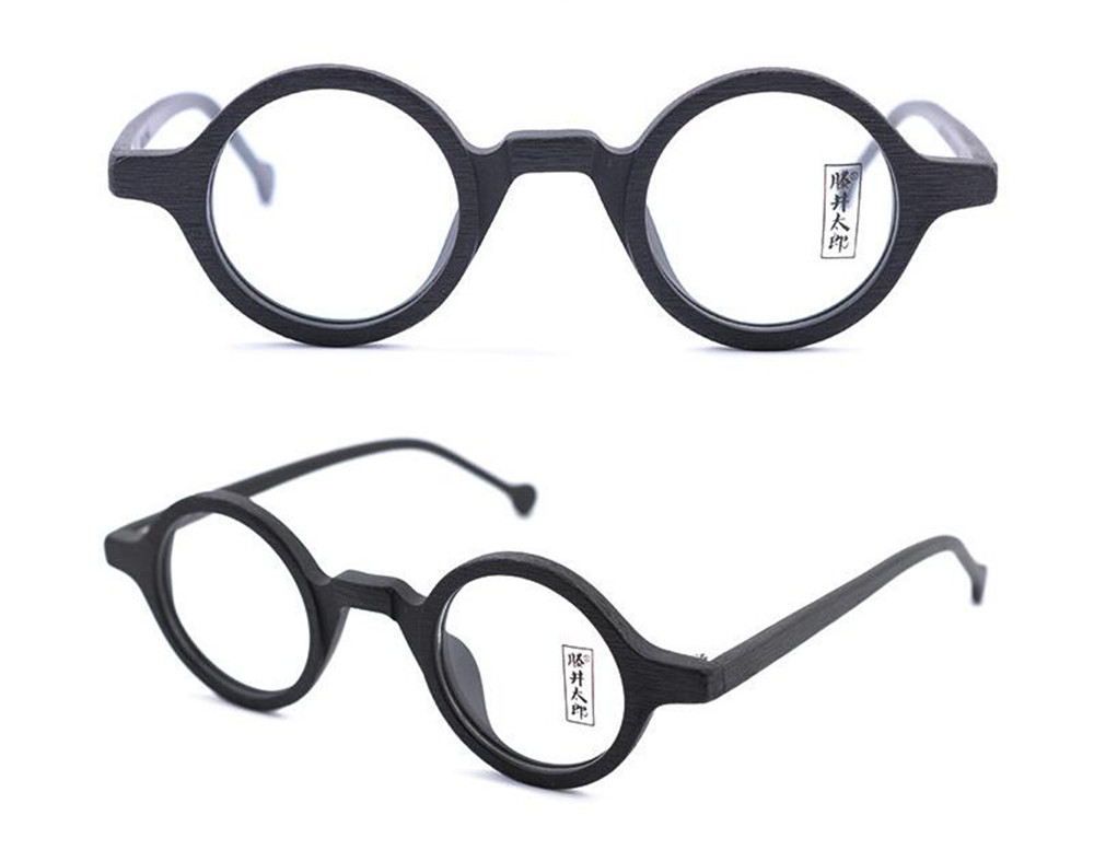 02c8b9f0fac Vintage 38mm Small Round Eyeglass Frames Wood Hand Made Spectacles ...