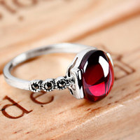 4 גרנט כסף 925 טבעות טבעות נישואים צבע אדום בציר סט תכשיטים נשיים לנשים רטרו טבעת כסף אבן טבעית מתנה