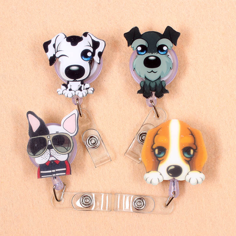 1 Pcs Cute Acrylic Dog & Cat Retractable Badge Reel Nurse Doctor Student Exhibition ID Card Clips Badge Holder Stationery