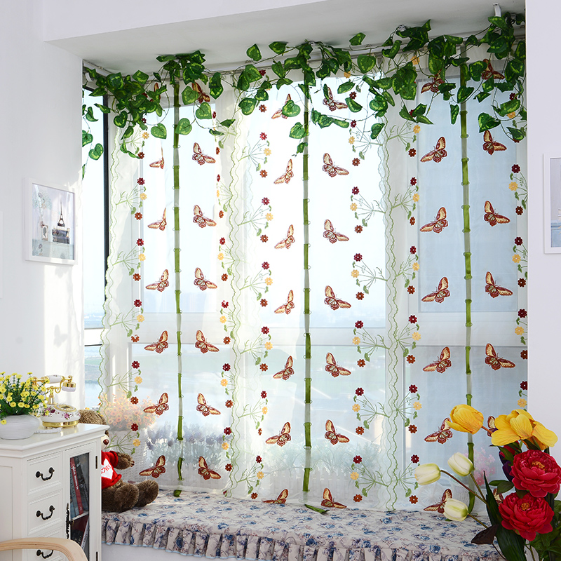 Top Finel Butterfly Tulle For Window Roman Shades Window Curtain Blinds  Embroidered Sheer Curtains For Kitchen Living Room Panel In Curtains From  Home ...