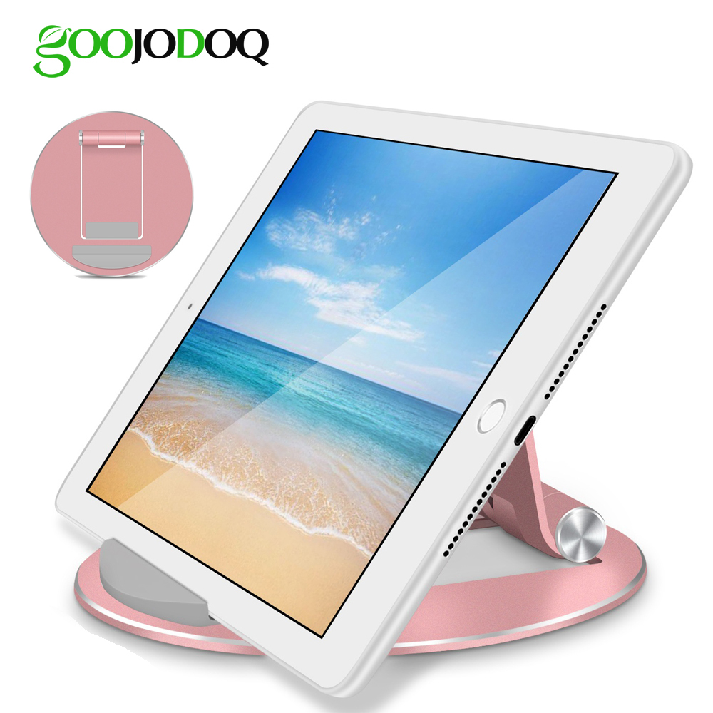 GOOJODOQ Desk Tablet Stand Aluminum Desktop Tablet Holder Mount for iPad 2018 2 3 4 Pro Air 2 for Samsung Xiaomi iPhone 4-12 portable 5 level abs stand holder for ipad 2 ipod touch 4 iphone 3g 4 purple