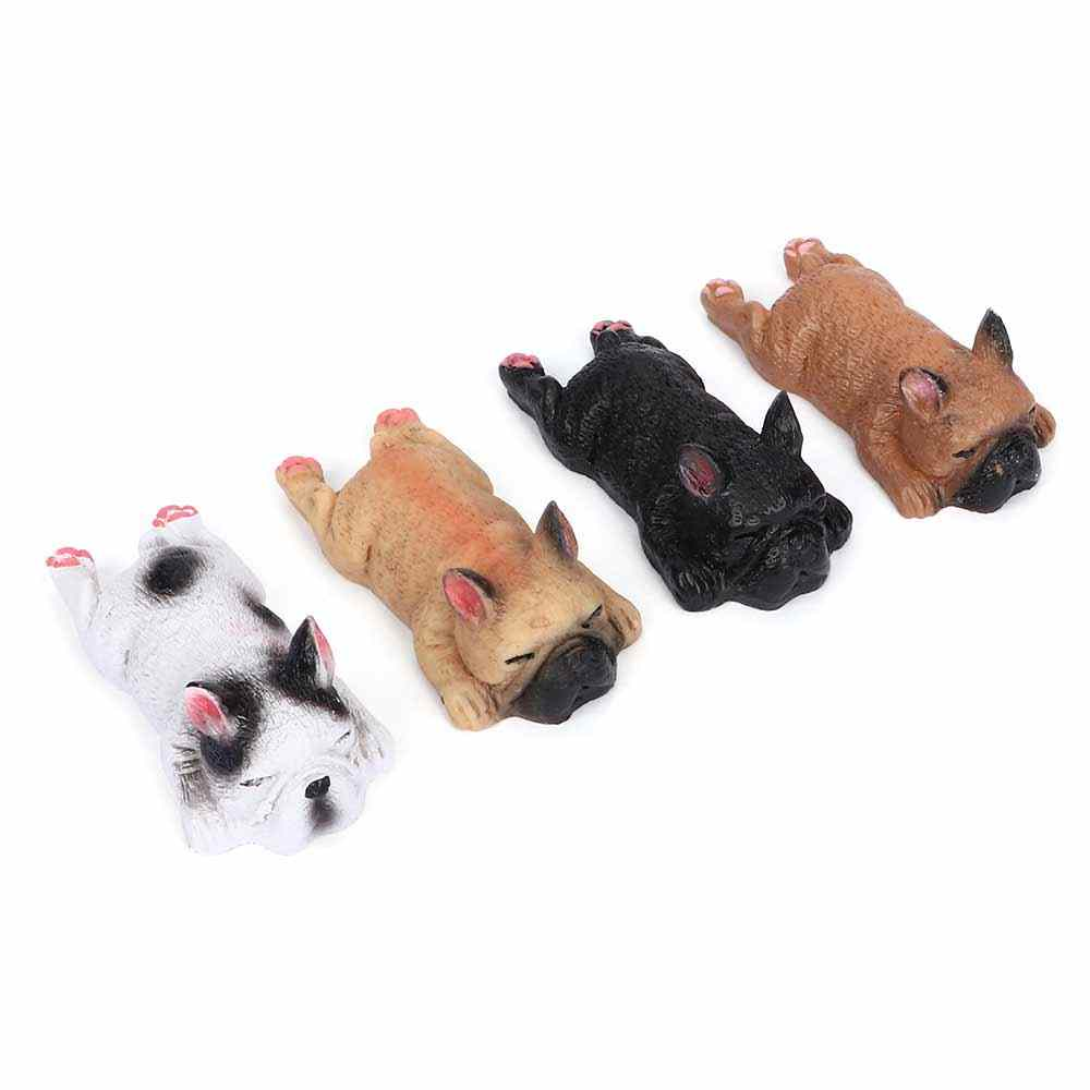 Figurines & Miniatures 3D French Bulldog Resin Cute Sleeping Dog Refrigerator for Office Home Decoration
