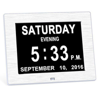 Metal Day Clock Digital Calendar with Extra Large Non Abbreviated Electronic Alarm Clock for Seniors Memory Loss People Dementia