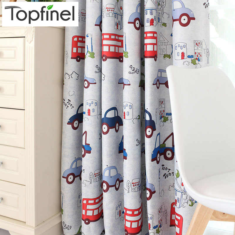 Topfinel Cartoon Car Blackout Curtains for Living Room Bedroom Kids Room Decorative Window Treatment Curtains Drapes Tulle Boys