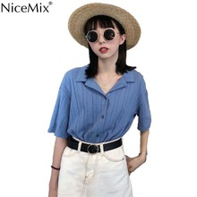 NiceMix Blusas Mujer De Moda 2019 Summer Short Sleeve Blouse Women Plus Size Striped Tops Shirt Vintage Camisa Feminina