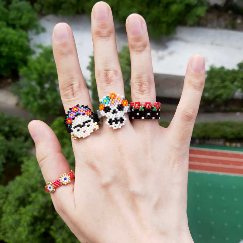 FAIRYWOO Miyuki Red Turkey Evil Eye Handmade Ring Women Men Friendship Flower Girl Golden Ethnic Skeleton Woven Beaded Ring Set