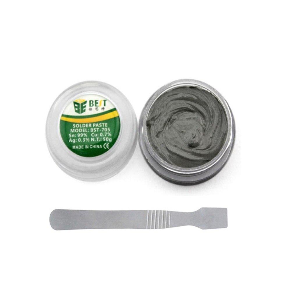 50g Lead-Free Solder Paste Strong Adhesive Tin Soldering Flux With Scraper Welding Flux For BGA SMD PGA Rework Reballing Station