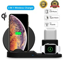 Henzarne 3 in 1 Qi Fast Wireless Charging Stand for Apple Watch and Airpods Station Compatible iPhone X/XR 8 8P
