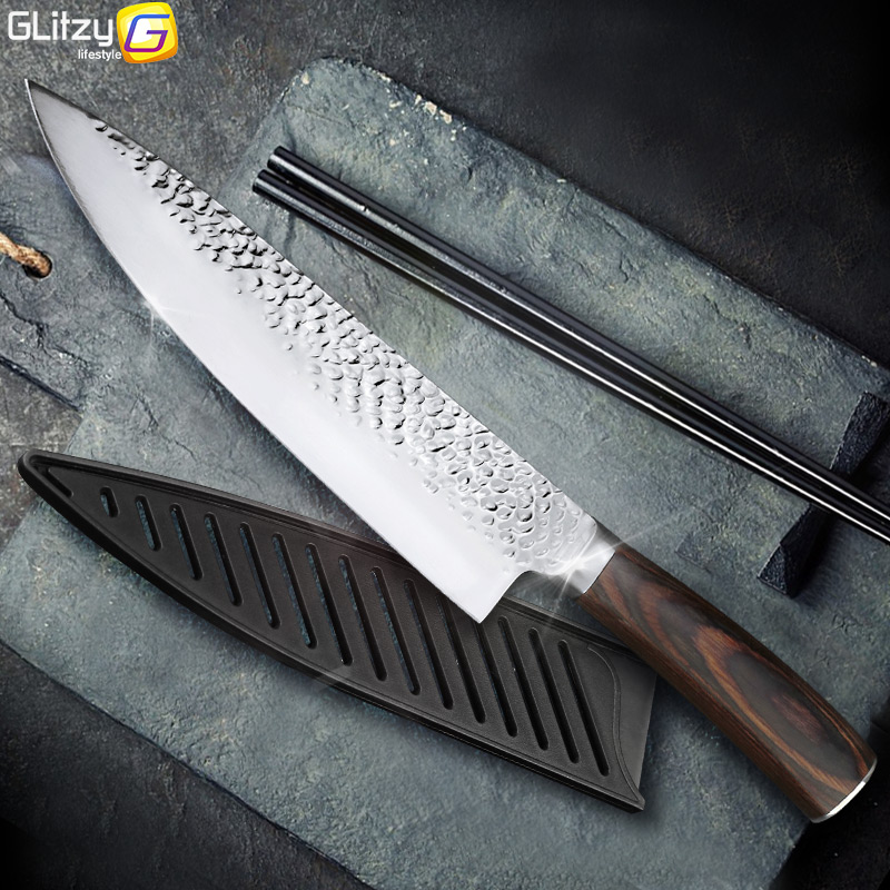 Kitchen Knife 8 inch Professional Japanese Chef Knives 7CR17 440C High Carbon Stainless Steel Meat Cleaver Slicer Santoku Knife fonksiyonlu rende