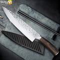 Cuchillo de cocina 8 pulgadas profesional japonés cuchillos de Chef 7CR17 440C acero inoxidable de alto carbono cortador de carne cuchillo Santoku
