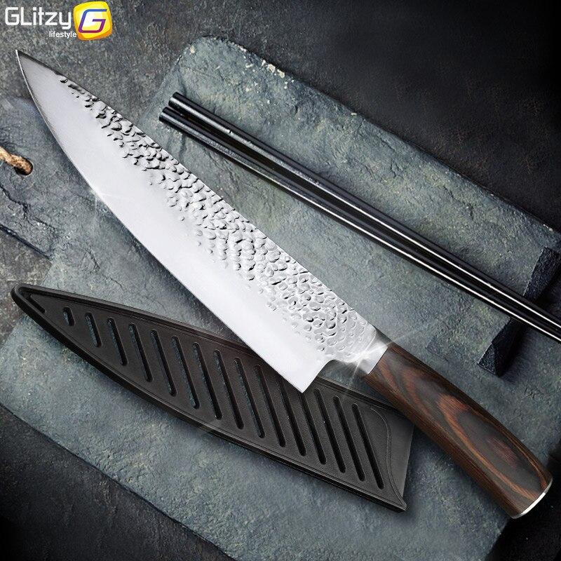 Keukenmes 8 Inch Professionele Japanse Chef Messen 7CR17 440C Roestvrij Staal Volledige Tang Vlees Cleaver Slicer Santoku Set