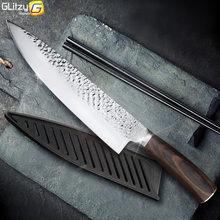 Kitchen Knife 8 inch Professional Japanese Chef Knives 7CR17 440C High Carbon Stainless Steel Meat Cleaver Slicer Santoku Knife(China)