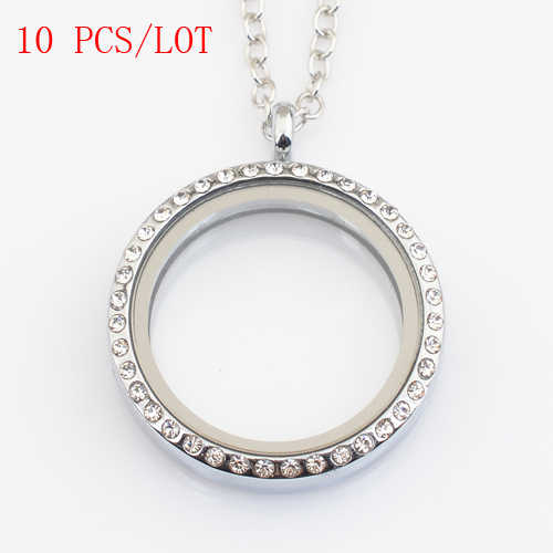 10 PCS/LOT 30mm round magnetic floating locket with rhinestone, with free 50-55cm chain FN0005