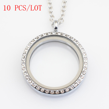 10 PCS/LOT 30mm round magnetic floating locket with rhinestone, with free 50 55cm chain FN0005