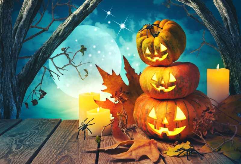 Laeacco Moon Night Old Tree Pumpkin Lamps Wood Floor Halloween Photography Backdrops Vinyl Custom Backgrounds For Photo Studio