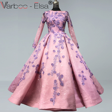 VARBOO_ELSA pink Beaded Lace Long Sleeve Evening Dresses