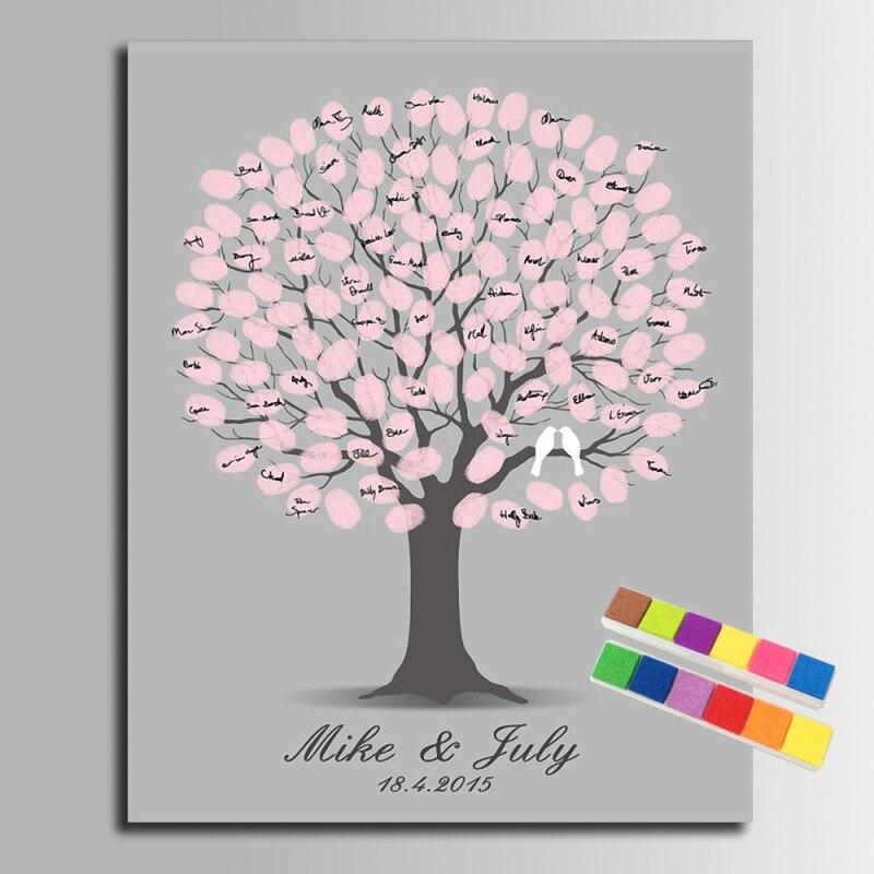 diy d 39 empreintes digitales signature toile peinture rose arbre de mariage d coration cadeau de. Black Bedroom Furniture Sets. Home Design Ideas