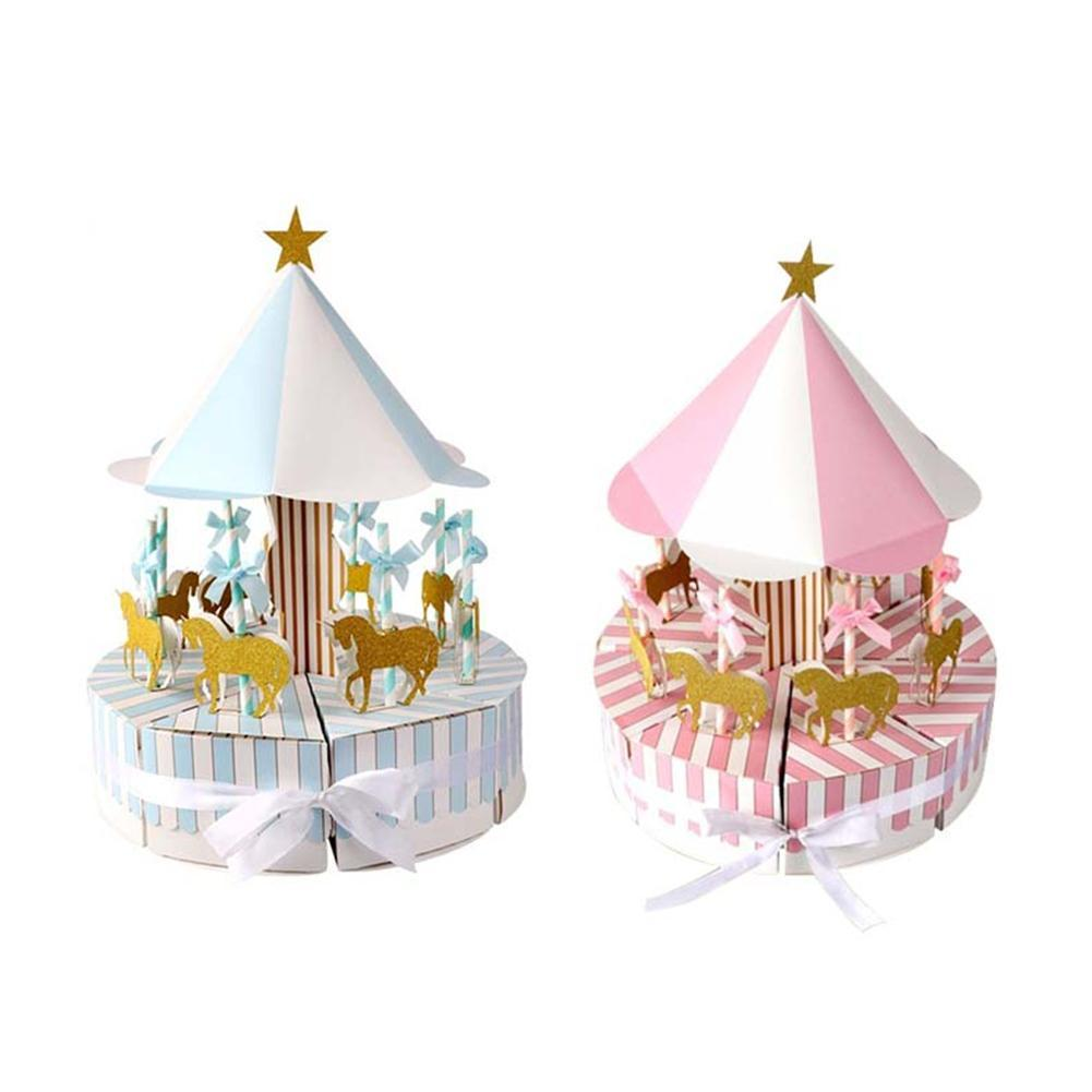 Romantic Carousel Gift Box Baby Shower Favors Candy Boxes Boys Girls Birthday Party Favors Gift Candy Box Event Party Supplies