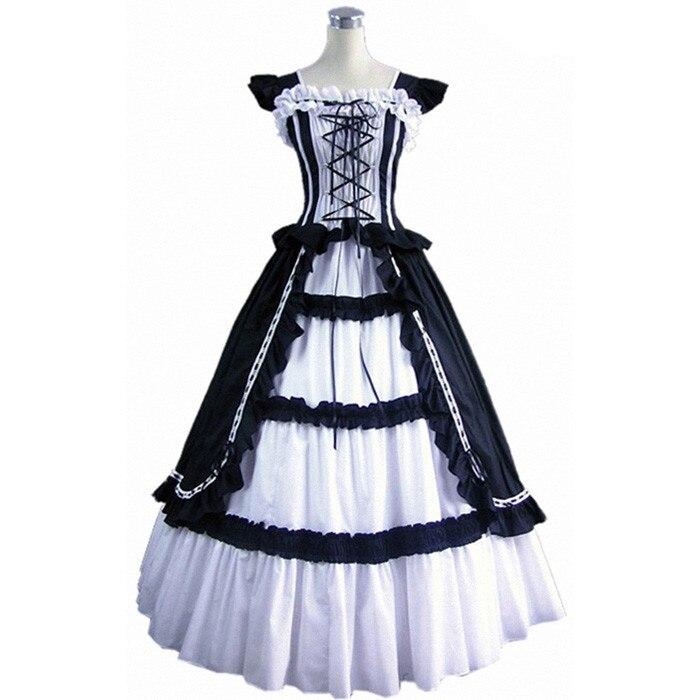 (GT018) robe de bal Lolita à manches courtes noir blanc nouvelle mode femmes robes longues