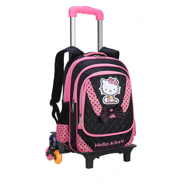 Hello Kitty Children School Bags set Mochilas Kids Backpacks With Six Wheels  Trolley Luggage For Girls 926536a9d4