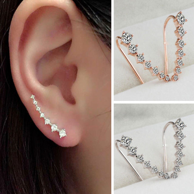 Rongxing Rhinestone Crystal Earrings Ear Hook Stud White Yellow Rose Gold Filled Jewelry 2017