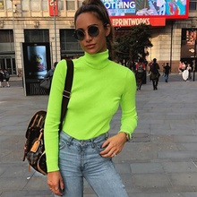 womens long-sleeve t-shirt neon/vintage/turtleneck/knitted t shirt women/femme clothes neon t-shirts for women