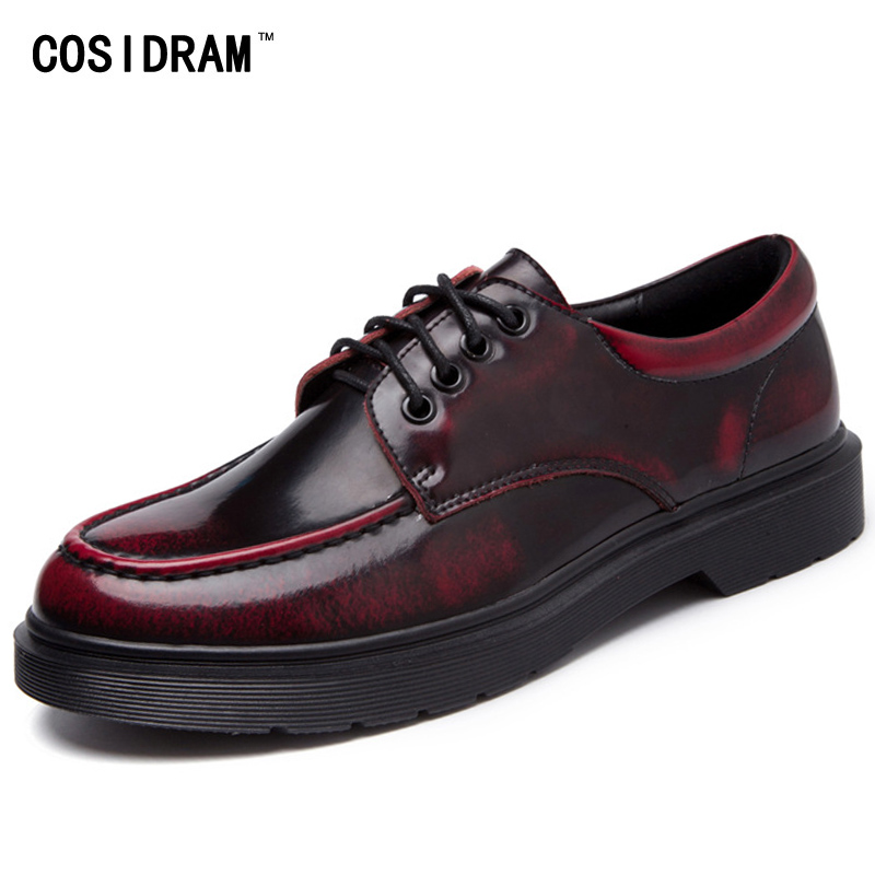 COSIDRAM New 2017 Genuine Leather Women Oxfords Lace Up Women Shoes Fashion Women Flats Ladies Shoes Plus Size 41 42 43 BSN-010 new 2017 spring summer women shoes pointed toe high quality brand fashion womens flats ladies plus size 41 sweet flock t179