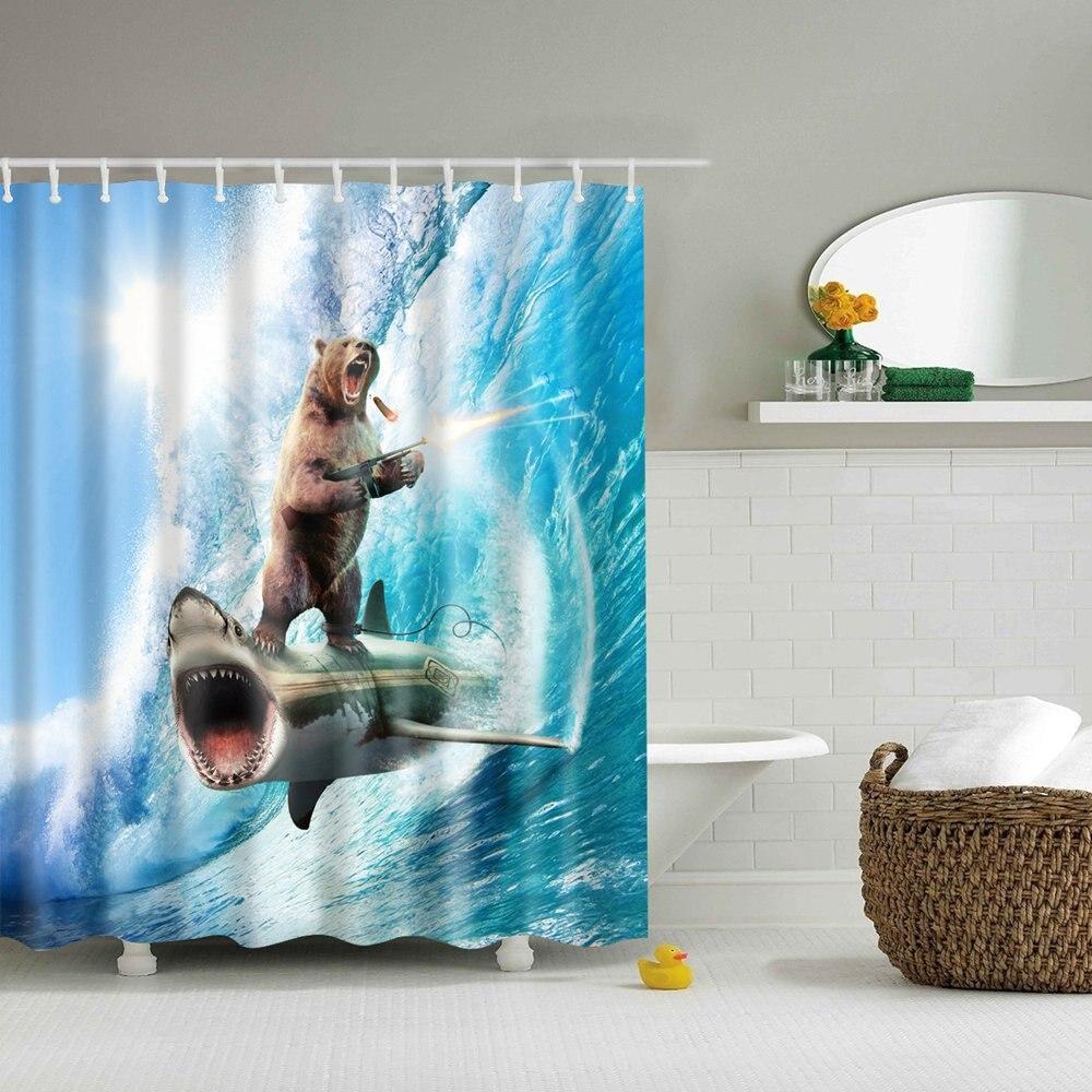Dafield สัตว์ตลก Brave หมีบน SHARK ผ้าม่านธีมศิลปะสำหรับล้างทำความสะอาดได้ผ้าห้องอาบน้ำผ้าม่านหมี