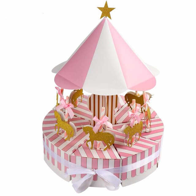 Favores do casamento caixas com carrossel unicórnio arte artesanato caixa de doces de papel do bebê decorações da festa de aniversário de chocolate de presente para as crianças