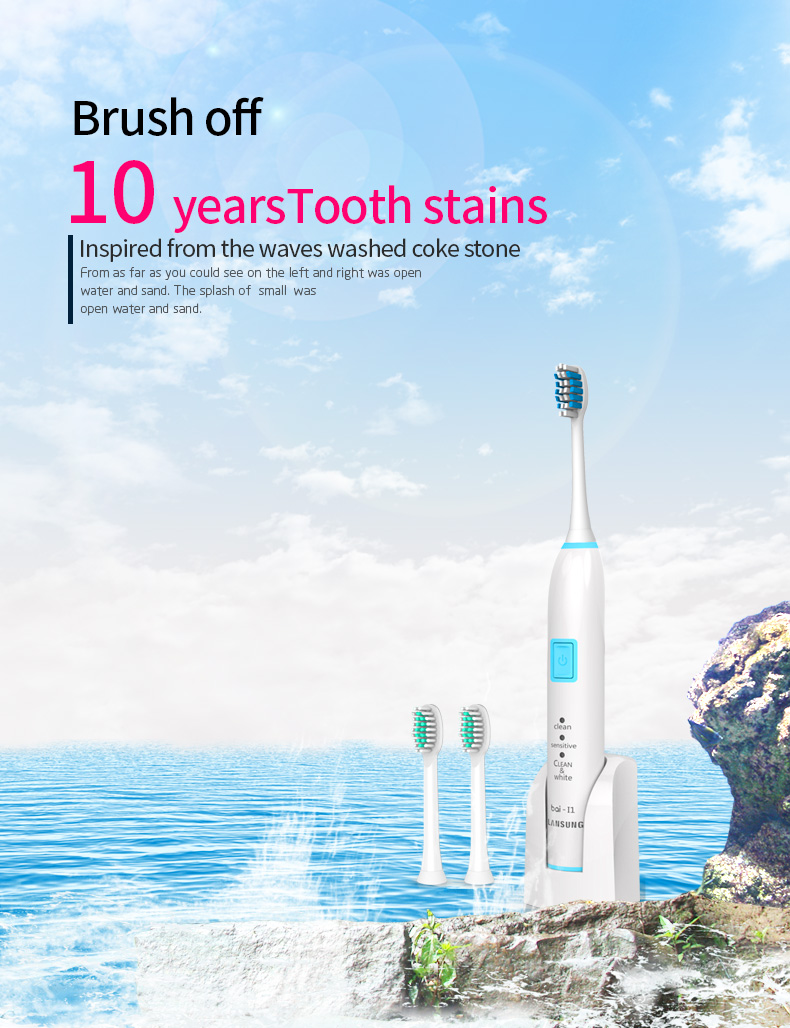 E-store Electric Toothbrush Series--LANSUNG I1 Multi Wireless Charge Ultrasonic Sonic Electric Toothbrush PX7 Waterproof Smart Timer Rechargeable Toothbrush With 3 Pcs Replacement Heads - intl