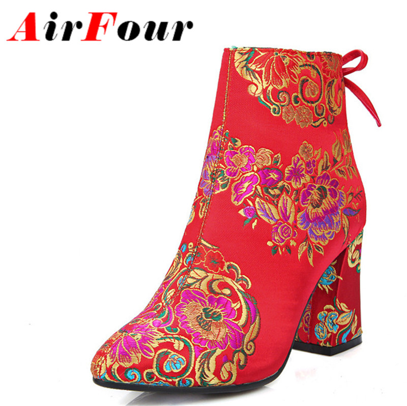 ФОТО Airfour Ankle Boots for Women Zip Silk Bowtie Pointed Toe Winter Boots Shoes Woman Shoes Short Plush Red Flower Wedding Shoes