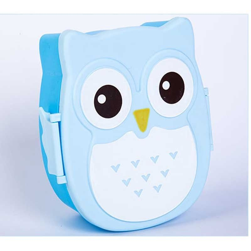 2017 new arrival owl lunch box food container storage box portable bento box spoon cute cartoon. Black Bedroom Furniture Sets. Home Design Ideas