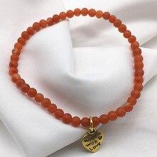Women Charm Bracelets Nang Hong Agates Red Stone 4 mm Beads 100% Nature Color Not Men Made Luck Bracelet Girl Gift