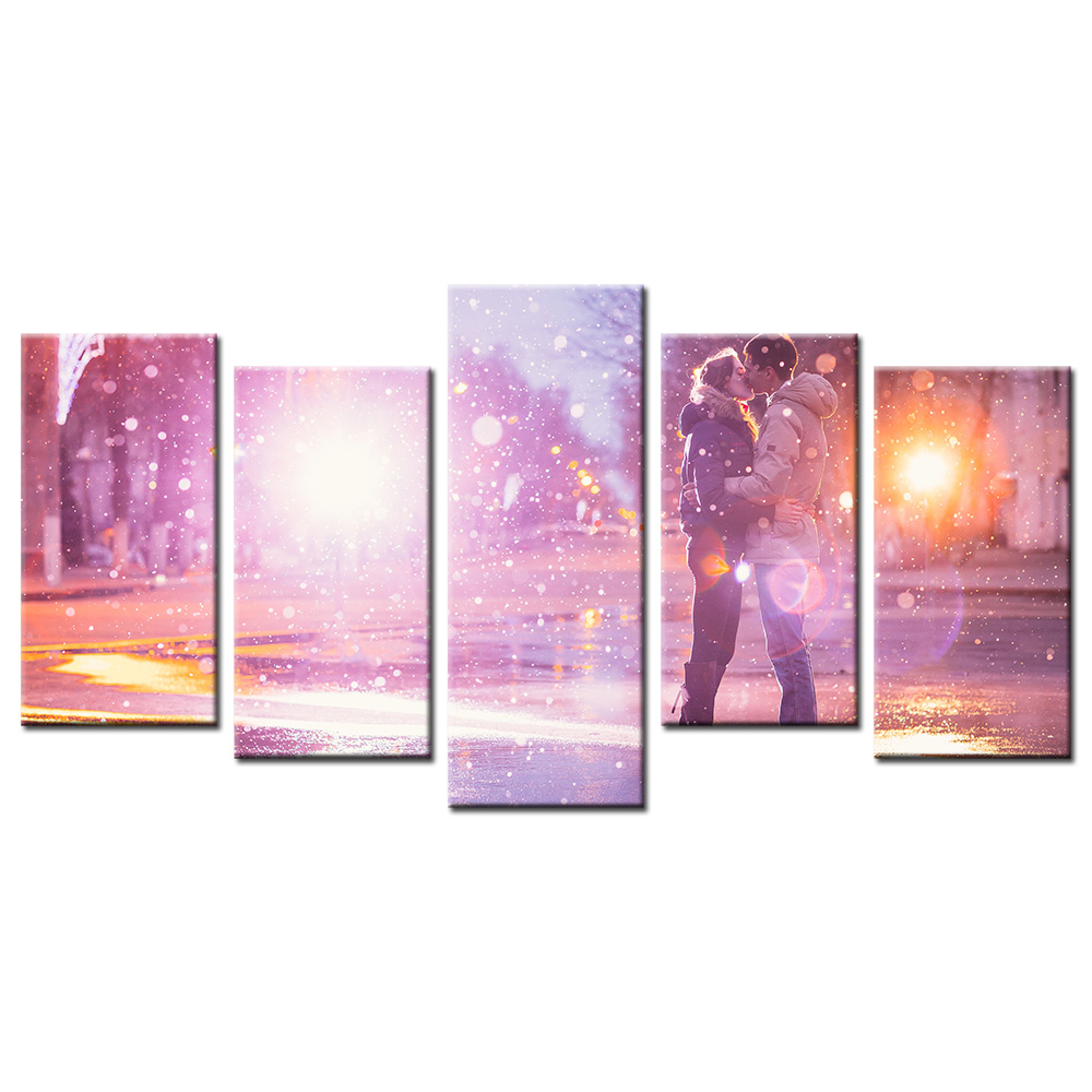 5 panel decorative wall pieces art canvas romantic love in winter 5 panel decorative wall pieces art canvas romantic love in winter poster printed modern painting home decoration for bedroom in painting calligraphy from amipublicfo Choice Image