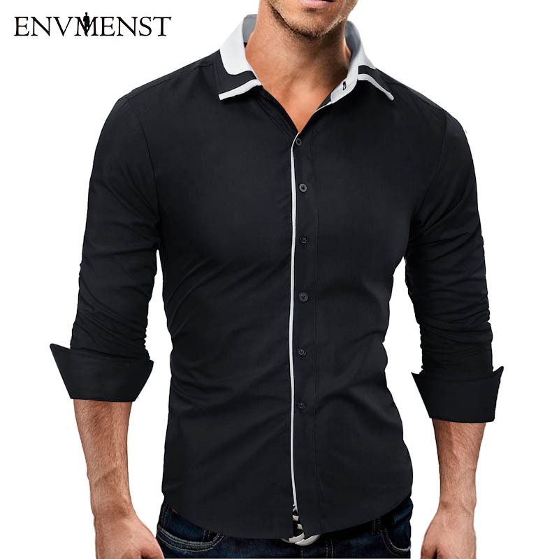 Envmenst Asian Size Men's Shirt 2017 Spring Cotton Slim Business Casual Shirt Brand Clothing Long Sleeves Chemise Homme