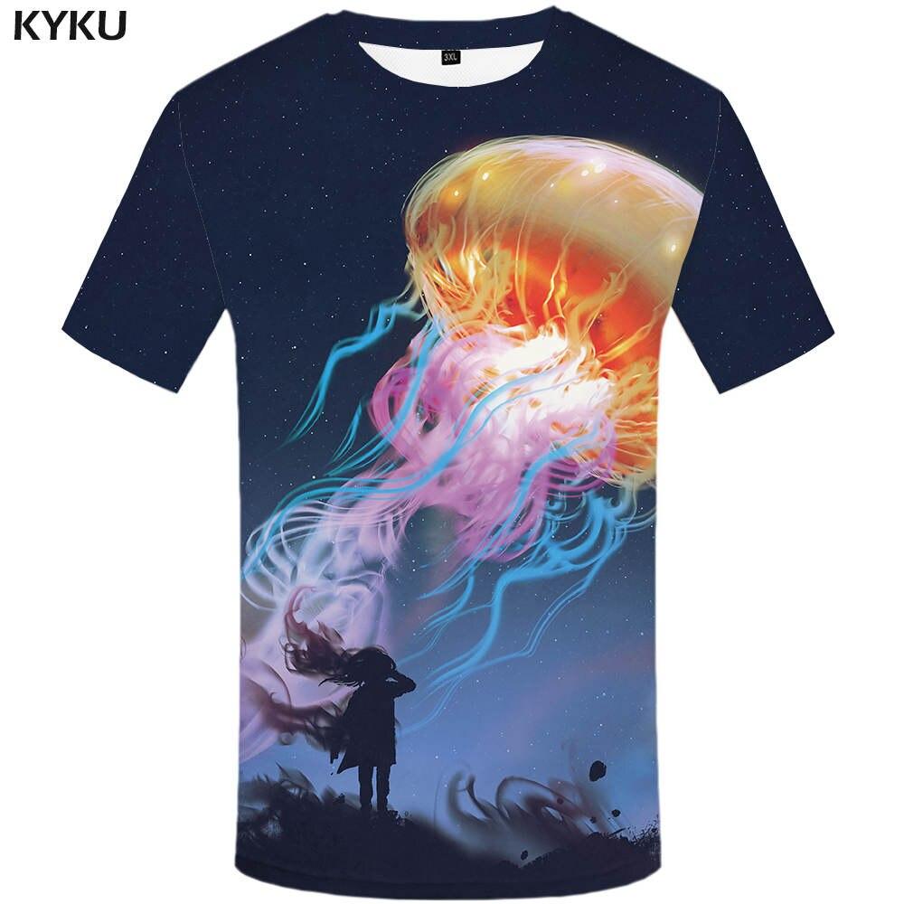 KYKU Brand Galaxy T Shirt Women Jellyfish Tshirt Space 3d Printed T-shirt Anime Clothes Funny T-shirts Womens Clothing 2018 New