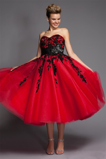 CEZOM Black And Red Wedding Dresses Short Tulle Lace Mid Calf Sweetheart  Tea Length Short