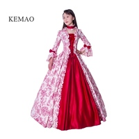 Victorian Rococo Costume Women's Adults' Dress Red Vintage Cosplay Flocked Long Sleeves Bell Ankle Length ball gown