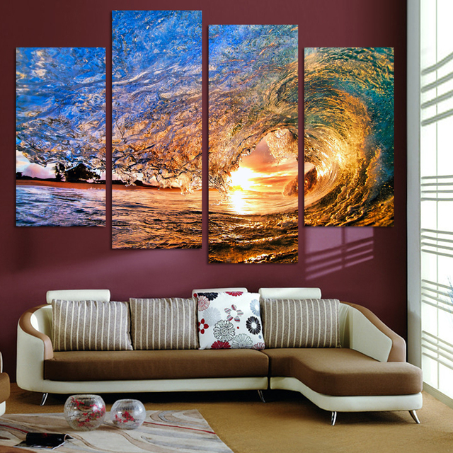 4 Pcs Wall Art Canvas Painting Sunset On The Beach With Ocean Wave Pictures