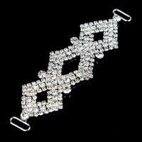 30 Pcs 12.3x3.8cm Bikini Swimwear Connectors Shinny Metal Chain Crystal Rhinestone Buckle For Swimwear Silver