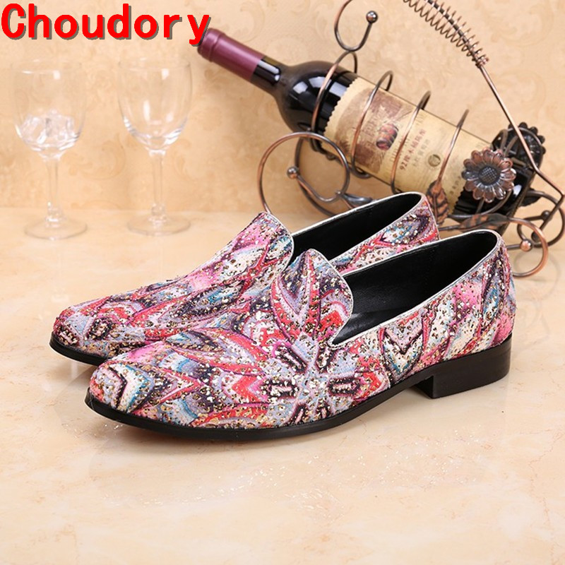 classic style Painting graffiti mix colors men loafers blue flats formal mens dress shoes slip on mariage plus size shoe lasts choudory summer dress crocodile skin shoes men breathable prom shoes full grain leather pointy mens formal shoes shoe lasts